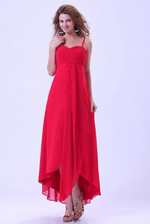 Chiffon High-low Spaghetti Straps Coral Red Bridesmaid Gown Cheap