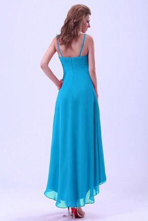 turquoise high low bridesmaid dresses