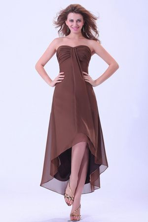 Sweetheart High-low Chiffon Brown Wedding Outfits For Bridesmaid
