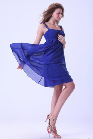 Knee-length Royal Blue Informal Bridesmaid Dress With Straps 2013