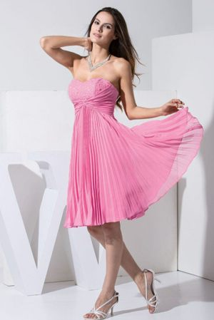 Rose Pink Beaded Knee-length Pleat Bridesmaid Dress in Parramatta