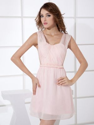 Wide Straps Light Pink Mini-length Wedding Outfits For Bridesmaid