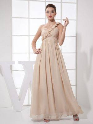 Champagne Floral Ankle-length one Shoulder Bridesmaid Dress 2014