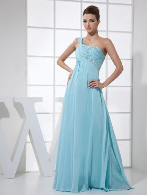 One Shoulder light Blue Beaded Bridesmaid Dresses in Bathurst NSW