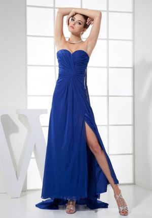 Watteau Train Blue Sweetheart Bridesmaid Dresses with High Slit
