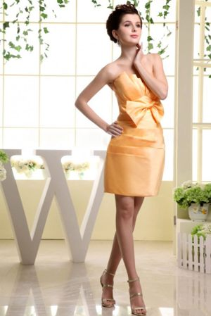 Mini-length Orange Red Bow Ruched Dress for Bridesmaid in Albury