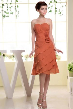 Rust Red Ruffled Hand Made Flowers Bridesmaid Dress in Gold Coast