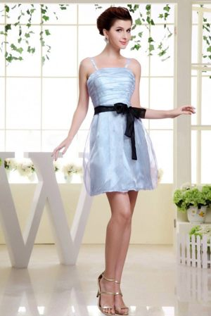 Short Light Blue Spaghetti Straps Sashed Bridesmaid Gown for 2013