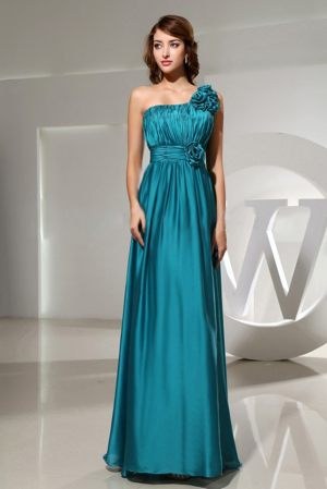 One Shoulder Hand Made Flower Teal Bridesmaid Dress in Newcastle