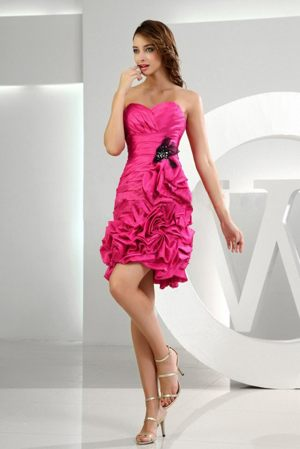 Ruffles Ruched Hot Pink Sweetheart Bridesmaid Dress with Pick-ups