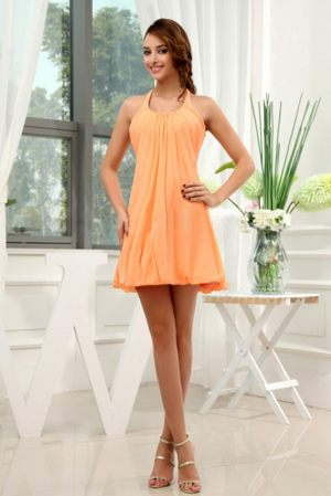A-Line Halter Orange Chiffon Mini-length Bridesmaid Dress on Sale