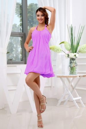 Halter Mini-length Lavender Ruched Bridesmaid Dress in Townsville