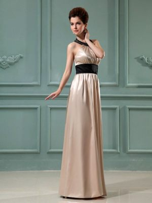 Elastic Woven Satin Champagne Halter Bridesmaid Gown in Toowoomba