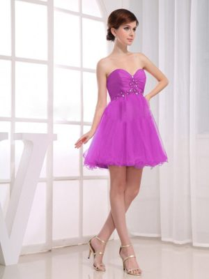 Beaded Lavender Sweetheart Ruched A-Line Short Bridesmaid Dresses
