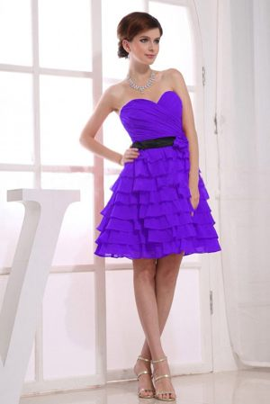 Knee-length A-Line Ruffled Purple Bridesmaid Dress in Ipswich QLD
