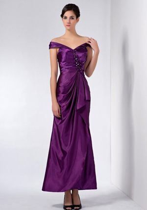 Ankle-length Purple Beaded Off The Shoulder Bridesmaid Dress 2014