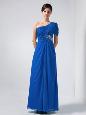 Blue One Shoulder Ankle-length Beaded Bridesmaid Dress in Mackay