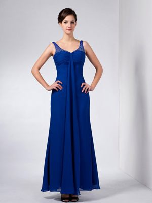 Ankle-length Blue Taffeta Column Straps Beaded Bridesmaid Dresses