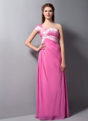 Beaded Rose Pink One Shoulder Bridesmaid Gown in Surfers Paradise