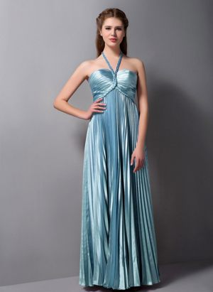 Elastic Woven Satin Column Halter Bridesmaid Dress in Light Blue