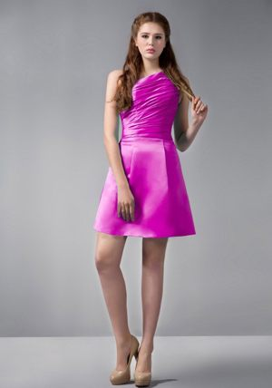 One Shoulder Hot Pink Mini-length A-line Bridesmaid Dress Ruched