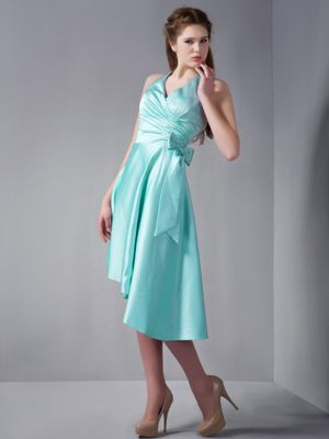Elastic Woven Satin A-line Aqua Blue Halter Bridesmaid Dress 2013