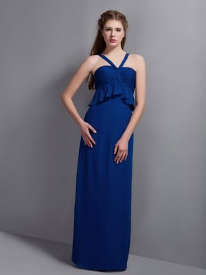 Chiffon Blue V-neck Ruffled Bridesmaid Dresses in Rockhampton QLD