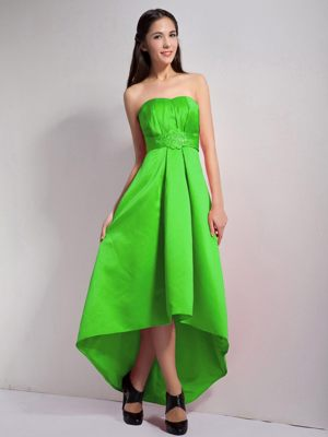 Strapless Spring Green High-low A-line Appliques Bridesmaid Dress