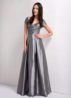 V-neck Grey A-line Taffeta Informal Bridesmaid Dress in Brisbane