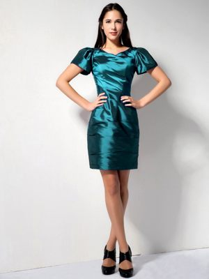 Mini-length Teal Column V-neck Bridesmaid Gown with Short Sleeves