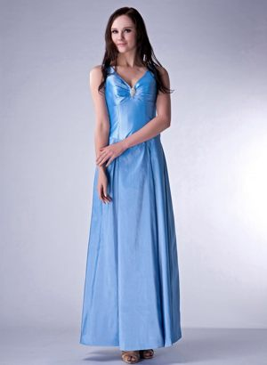 Baby Blue Ankle-length V-neck Bridesmaid Gown Beaded in Liverpool