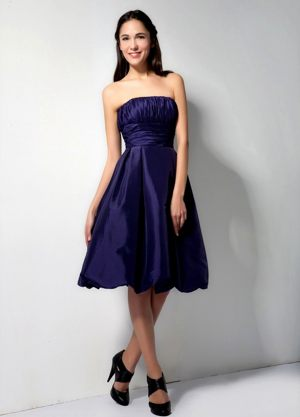 Purple Taffeta A-Line Knee-length Bridesmaid Dress with Ruchings