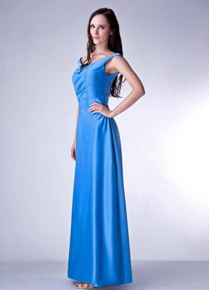 Ankle-length Sky Blue Taffeta V-neck Bridesmaid Dresses for Cheap
