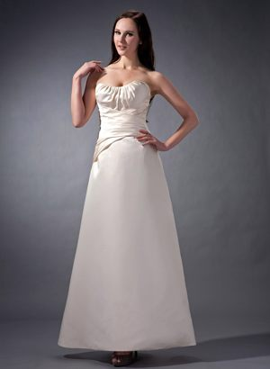 Column Off White Ankle-length Satin Bridesmaid Dress in Goulburn