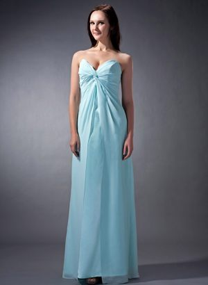 Baby Blue Column Chiffon Ruche Sweetheart Formal Bridesmaid Dress
