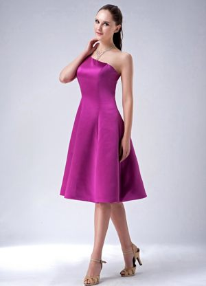 One Shoulder Fuchsia Satin Bridesmaid Dress in Western Australia