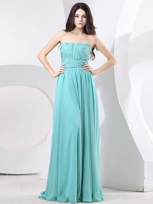 Strapless Green Ruching Chiffon Plus Size Bridesmaid Gown on Sale