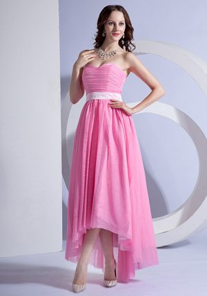 High-low Pink Sweetheart Chiffon Bridesmaid Gown with Layers 2014