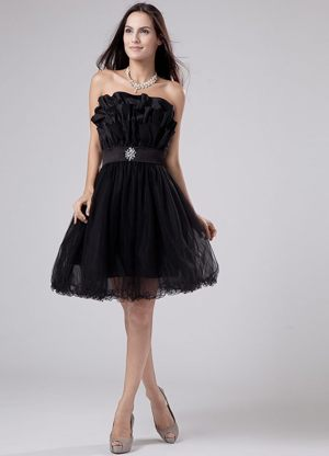 Sashes Mini-length Tulle A-Line Black Bridesmaid Gown in Adelaide