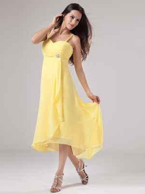 Yellow Chiffon Spaghetti Straps Bridesmaid Dresses With Beading