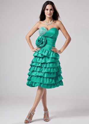 Sweetheart Turquoise Hand Made Flower Bridesmaid Dresses Ruffled