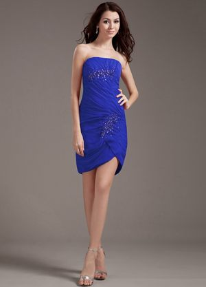 Mini-length Beadings Blue Chiffon Wedding Outfits For Bridesmaid