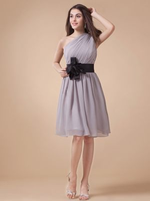 Gray One Shoulder Chiffon Sash Ruched Bridesmaid Dress for Cheap