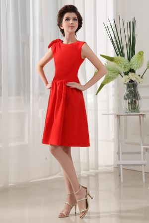 Taffeta A-Line Red Knee-length Scoop Informal Bridesmaid Dresses
