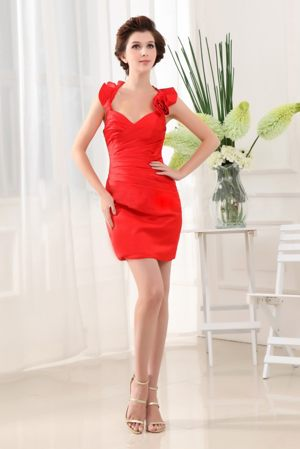 Mini-length Column Halter Red Taffeta Bridesmaid Dress with Beads