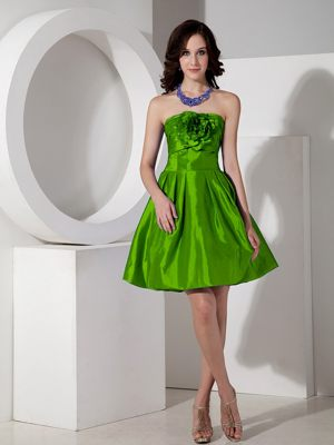 A-line Taffeta Spring Green Mini-length Floral Bridesmaid Dresses