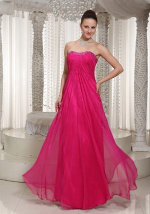 Chiffon Beadings Empire Strapless Hot Pink Bridesmaid Dress Cheap