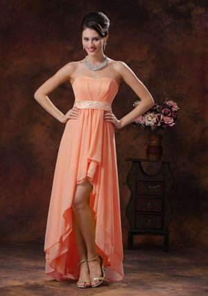 High-low Orange Layered Bridemaid Dress for Summer Wedding Sashed