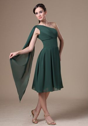 Watteau Train Green New Tea-length One Shoulder Bridesmaid Dress