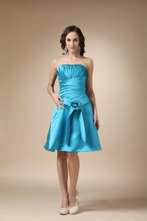 Hand Made Flower Knee-length Turquoise Junior Bridesmaid Dresses